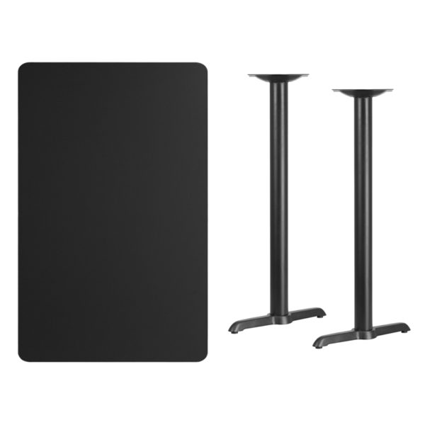 Lowest Price 30'' x 48'' Rectangular Black Laminate Table Top with 5'' x 22'' Bar Height Table Bases