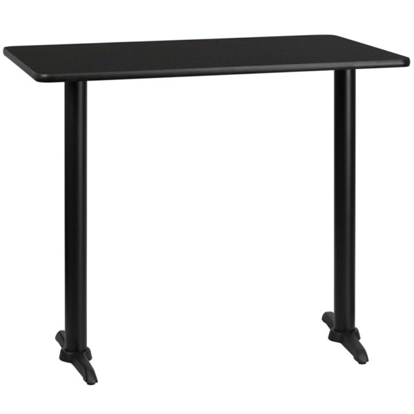 Wholesale 30'' x 48'' Rectangular Black Laminate Table Top with 5'' x 22'' Bar Height Table Bases