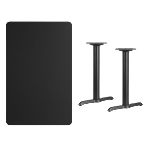 Lowest Price 30'' x 48'' Rectangular Black Laminate Table Top with 5'' x 22'' Table Height Bases