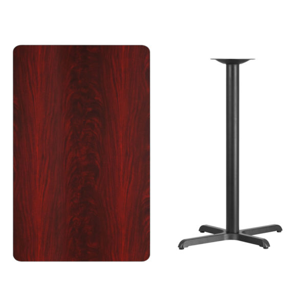 Lowest Price 30'' x 48'' Rectangular Mahogany Laminate Table Top with 22'' x 30'' Bar Height Table Base