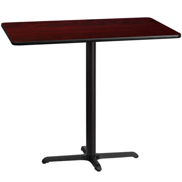 Wholesale 30'' x 48'' Rectangular Mahogany Laminate Table Top with 22'' x 30'' Bar Height Table Base