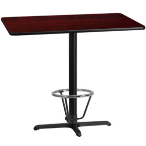 Wholesale 30'' x 48'' Rectangular Mahogany Laminate Table Top with 22'' x 30'' Bar Height Table Base and Foot Ring