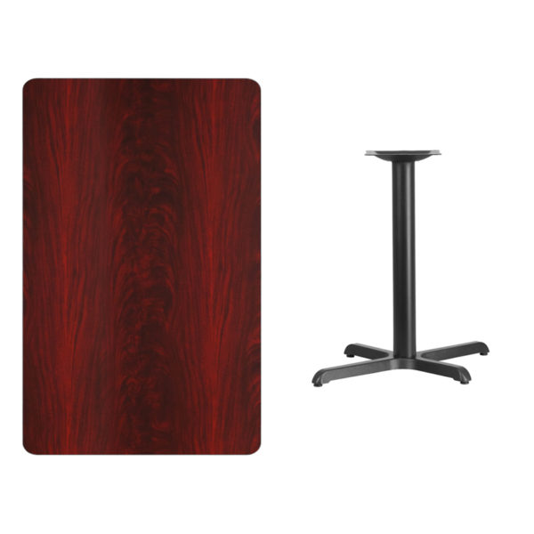 Lowest Price 30'' x 48'' Rectangular Mahogany Laminate Table Top with 22'' x 30'' Table Height Base