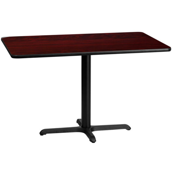 Wholesale 30'' x 48'' Rectangular Mahogany Laminate Table Top with 22'' x 30'' Table Height Base