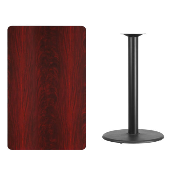 Lowest Price 30'' x 48'' Rectangular Mahogany Laminate Table Top with 24'' Round Bar Height Table Base