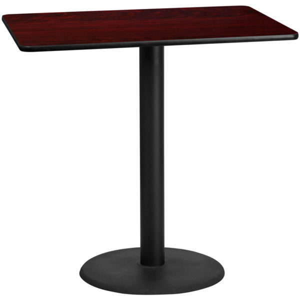 Wholesale 30'' x 48'' Rectangular Mahogany Laminate Table Top with 24'' Round Bar Height Table Base