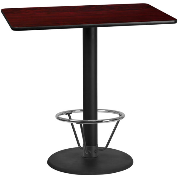 Wholesale 30'' x 48'' Rectangular Mahogany Laminate Table Top with 24'' Round Bar Height Table Base and Foot Ring