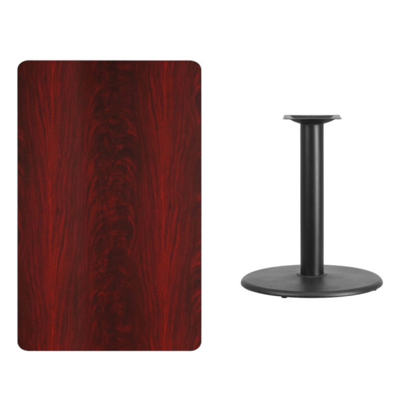 Lowest Price 30'' x 48'' Rectangular Mahogany Laminate Table Top with 24'' Round Table Height Base