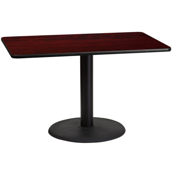 Wholesale 30'' x 48'' Rectangular Mahogany Laminate Table Top with 24'' Round Table Height Base