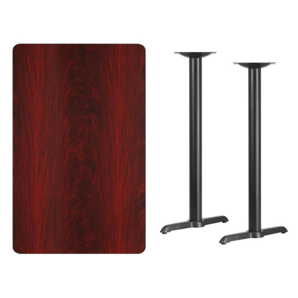 Lowest Price 30'' x 48'' Rectangular Mahogany Laminate Table Top with 5'' x 22'' Bar Height Table Bases