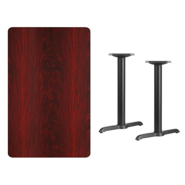 Lowest Price 30'' x 48'' Rectangular Mahogany Laminate Table Top with 5'' x 22'' Table Height Bases
