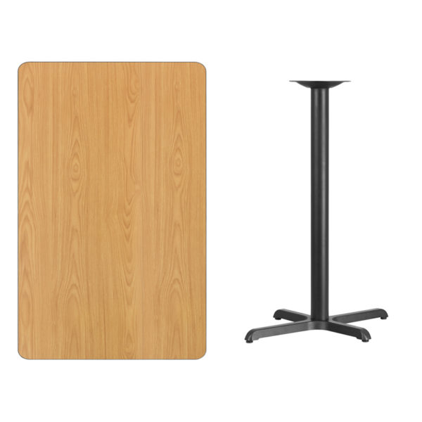 Lowest Price 30'' x 48'' Rectangular Natural Laminate Table Top with 22'' x 30'' Bar Height Table Base