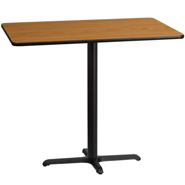 Wholesale 30'' x 48'' Rectangular Natural Laminate Table Top with 22'' x 30'' Bar Height Table Base