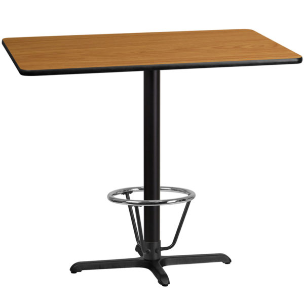 Wholesale 30'' x 48'' Rectangular Natural Laminate Table Top with 22'' x 30'' Bar Height Table Base and Foot Ring