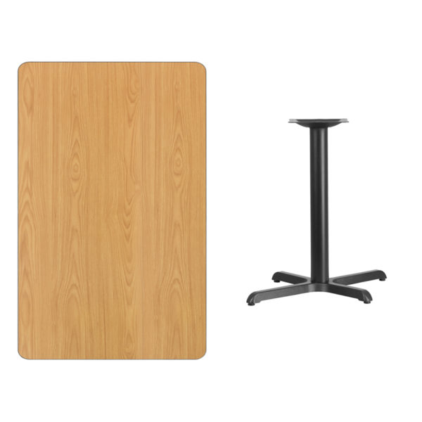 Lowest Price 30'' x 48'' Rectangular Natural Laminate Table Top with 22'' x 30'' Table Height Base