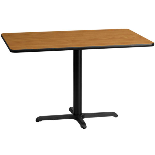 Wholesale 30'' x 48'' Rectangular Natural Laminate Table Top with 22'' x 30'' Table Height Base