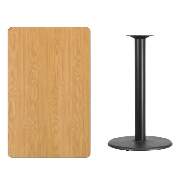 Lowest Price 30'' x 48'' Rectangular Natural Laminate Table Top with 24'' Round Bar Height Table Base