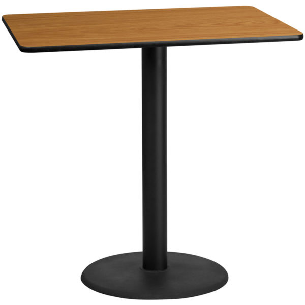 Wholesale 30'' x 48'' Rectangular Natural Laminate Table Top with 24'' Round Bar Height Table Base