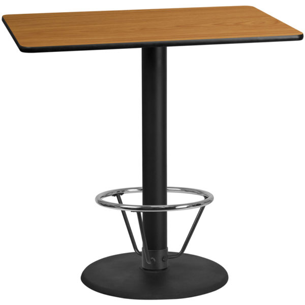 Wholesale 30'' x 48'' Rectangular Natural Laminate Table Top with 24'' Round Bar Height Table Base and Foot Ring