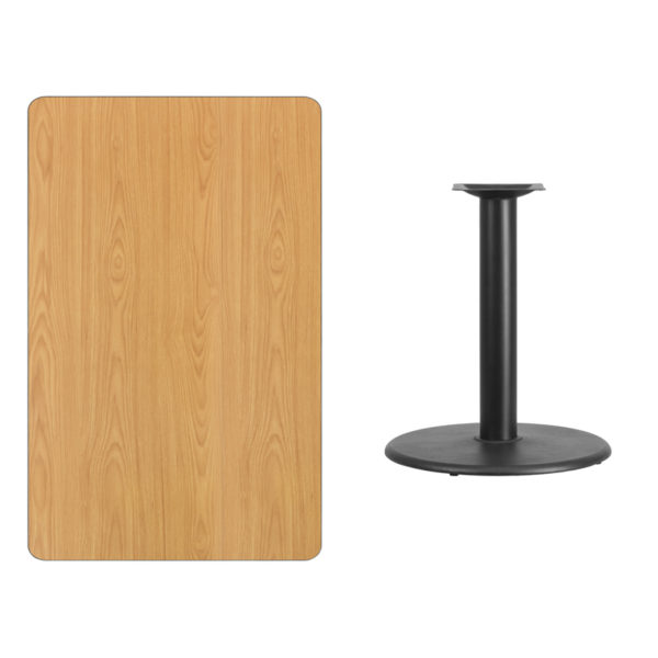 Lowest Price 30'' x 48'' Rectangular Natural Laminate Table Top with 24'' Round Table Height Base