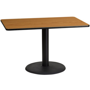 Wholesale 30'' x 48'' Rectangular Natural Laminate Table Top with 24'' Round Table Height Base