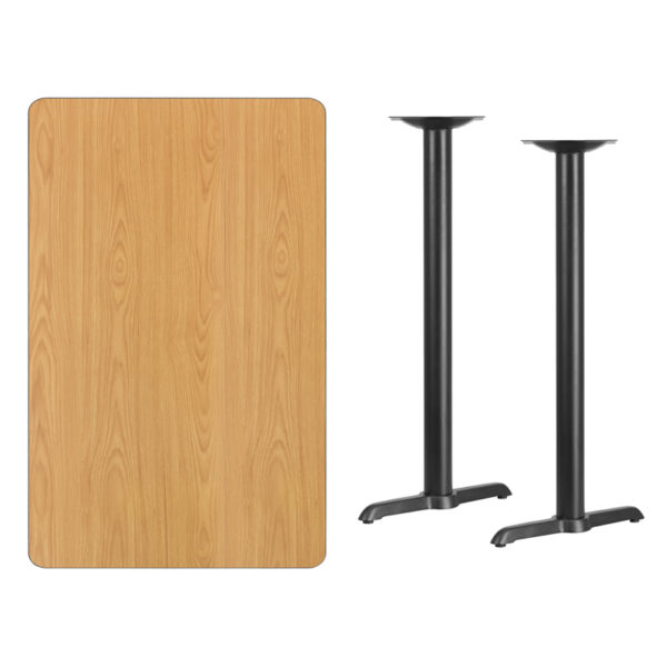 Lowest Price 30'' x 48'' Rectangular Natural Laminate Table Top with 5'' x 22'' Bar Height Table Bases
