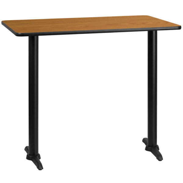 Wholesale 30'' x 48'' Rectangular Natural Laminate Table Top with 5'' x 22'' Bar Height Table Bases