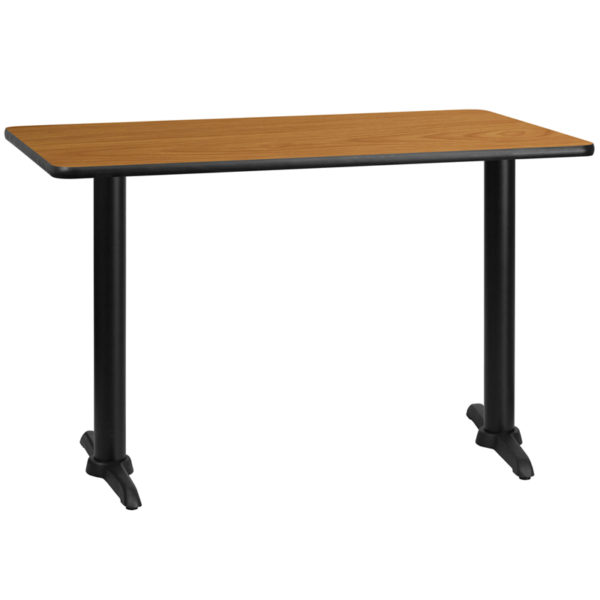Wholesale 30'' x 48'' Rectangular Natural Laminate Table Top with 5'' x 22'' Table Height Bases