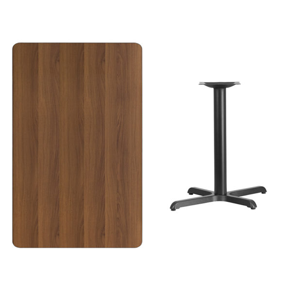 Lowest Price 30'' x 48'' Rectangular Walnut Laminate Table Top with 22'' x 30'' Bar Height Table Base