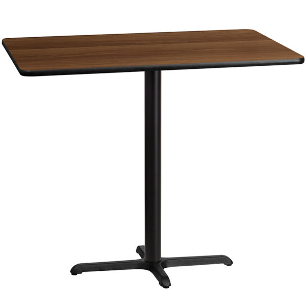 Wholesale 30'' x 48'' Rectangular Walnut Laminate Table Top with 22'' x 30'' Bar Height Table Base