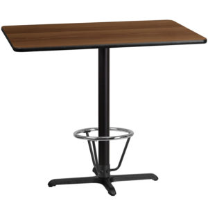 Wholesale 30'' x 48'' Rectangular Walnut Laminate Table Top with 22'' x 30'' Bar Height Table Base and Foot Ring