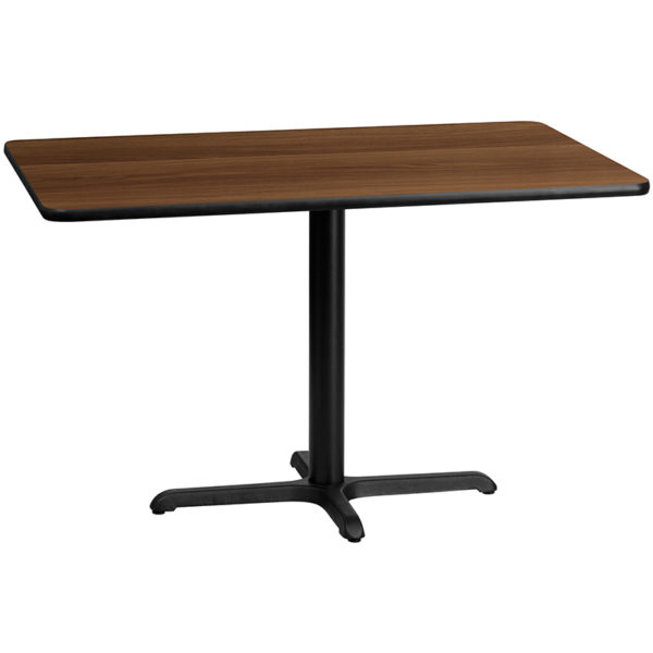 Wholesale 30'' x 48'' Rectangular Walnut Laminate Table Top with 22'' x 30'' Table Height Base