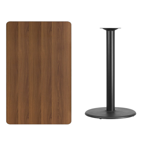 Lowest Price 30'' x 48'' Rectangular Walnut Laminate Table Top with 24'' Round Bar Height Table Base