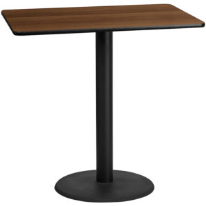 Wholesale 30'' x 48'' Rectangular Walnut Laminate Table Top with 24'' Round Bar Height Table Base