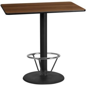 Wholesale 30'' x 48'' Rectangular Walnut Laminate Table Top with 24'' Round Bar Height Table Base and Foot Ring
