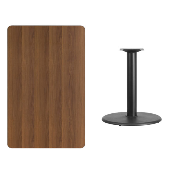Lowest Price 30'' x 48'' Rectangular Walnut Laminate Table Top with 24'' Round Table Height Base