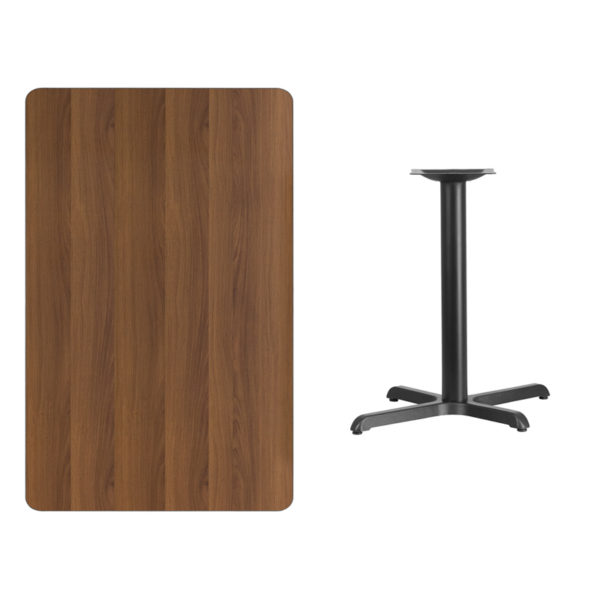 Wholesale 30'' x 48'' Rectangular Walnut Laminate Table Top with 24'' Round Table Height Base