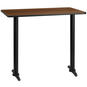 Wholesale 30'' x 48'' Rectangular Walnut Laminate Table Top with 5'' x 22'' Bar Height Table Bases