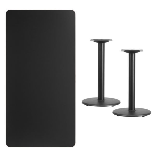 Lowest Price 30'' x 60'' Rectangular Black Laminate Table Top with 18'' Round Table Height Bases