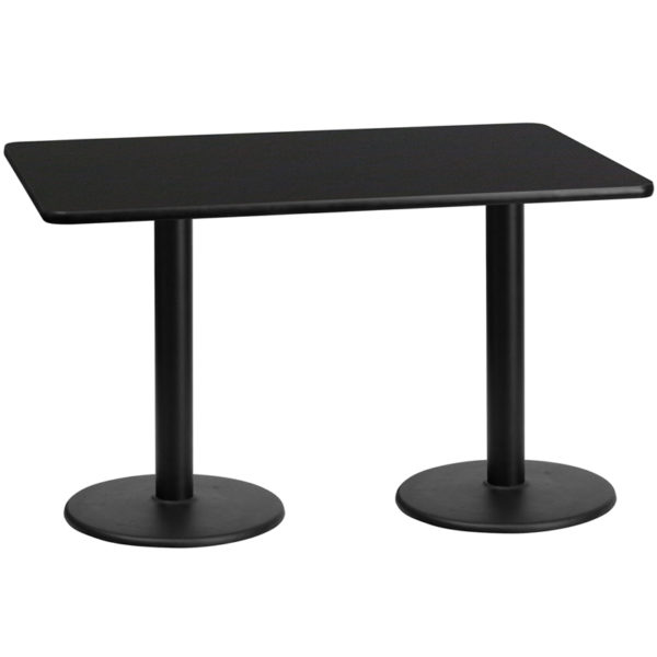 Wholesale 30'' x 60'' Rectangular Black Laminate Table Top with 18'' Round Table Height Bases