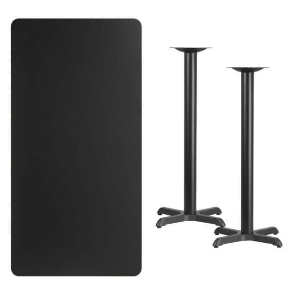 Lowest Price 30'' x 60'' Rectangular Black Laminate Table Top with 22'' x 22'' Bar Height Table Bases