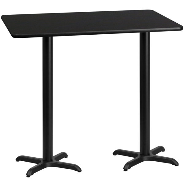 Wholesale 30'' x 60'' Rectangular Black Laminate Table Top with 22'' x 22'' Bar Height Table Bases