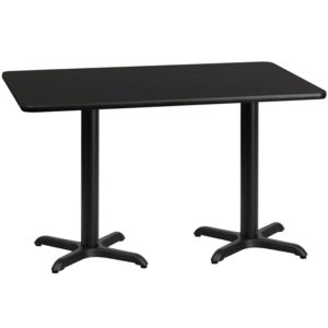 Wholesale 30'' x 60'' Rectangular Black Laminate Table Top with 22'' x 22'' Table Height Bases