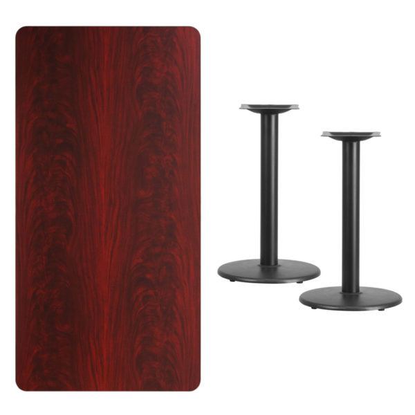 Lowest Price 30'' x 60'' Rectangular Mahogany Laminate Table Top with 18'' Round Table Height Bases