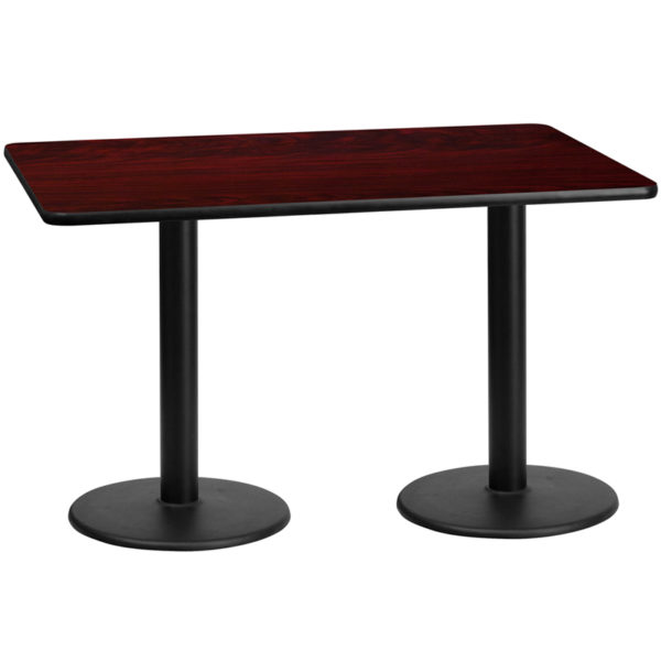 Wholesale 30'' x 60'' Rectangular Mahogany Laminate Table Top with 18'' Round Table Height Bases