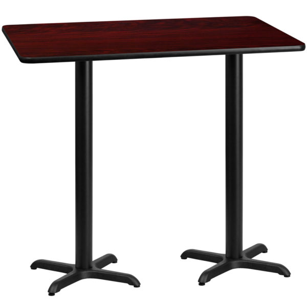 Wholesale 30'' x 60'' Rectangular Mahogany Laminate Table Top with 22'' x 22'' Bar Height Table Bases