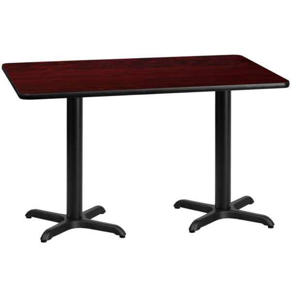 Wholesale 30'' x 60'' Rectangular Mahogany Laminate Table Top with 22'' x 22'' Table Height Bases