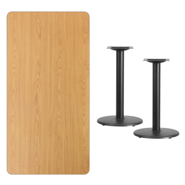 Lowest Price 30'' x 60'' Rectangular Natural Laminate Table Top with 18'' Round Table Height Bases