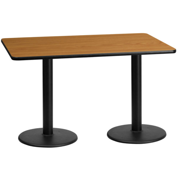 Wholesale 30'' x 60'' Rectangular Natural Laminate Table Top with 18'' Round Table Height Bases