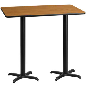 Wholesale 30'' x 60'' Rectangular Natural Laminate Table Top with 22'' x 22'' Bar Height Table Bases